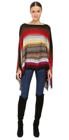 Inspire your life.  Drape yourself in dreams with this #Missoni #poncho. #knit #outerwear #sweater #apparel #clothing