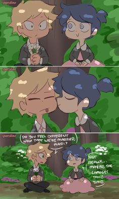 Adrien and Marinette get married plus Ladybug and Chat Noir finally meet! This is the first part of the Childhood Friends AU no one asked for LOL. Miraculous Ladybug Fanfiction, Miraculous Ladybug Memes, Ladybug Comics, Miraclous Ladybug, Zuko And Katara, Cute Baby Cats, Childhood Friends, Disney Drawings, Writing Inspiration