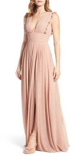deep v-neck ruffle pleat chiffon gown by Monique Lhuillier Bridesmaids. Dainty ruffles soften the precise pleats shaping the decolletage-flaunting bodice of this enchanting chiffon gown. Blush Gown, Blush Dresses, Prom Dresses, Evening Dresses, Pleated Dresses, Bridal Dresses, Summer Dresses, Dress Code, Cream Bridesmaid Dresses