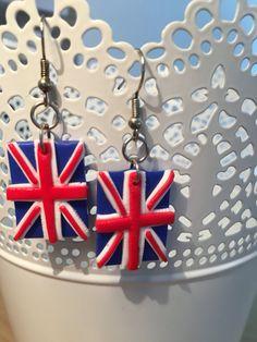 Boucles d'oreille drapeau Royaume-Uni faites main par EMBOUTIQUEE