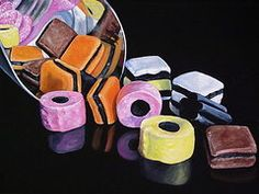 Scoop of licorice allsorts  by Lillian  Bell All Candy, Candy Art, Paint My Photo, Liquorice Allsorts, Thing 1, Realistic Paintings, Favorite Candy, Paintings For Sale, All Print