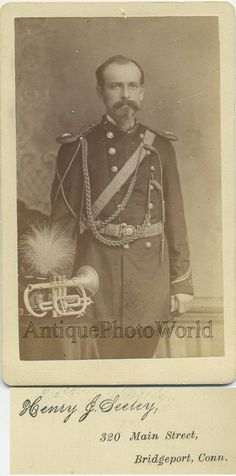 Mustached military man with trumpet antique CDV photo Antique Signs, Military Men, Baby Play, Antique Photos, Trumpet, Cute Babies, Age, Antiques, Size 2