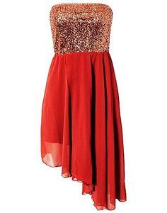 Bandeau Sequin Dress - Red Asymmetric Dress