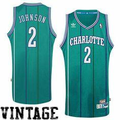 adidas Larry Johnson Charlotte Hornets Soul Swingman Throwback Jersey - Teal
