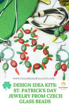Design Idea Kits: Saint Patrick Day Jewelry from Czech Glass Beads | SAVE it! | CzechBeadsExclusive.com #czechbeadsexclusive #czechbeads