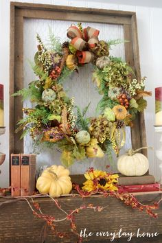 The Everyday Home and Barb Garrett uses traditional colors and textures to create a wreath on a chicken wire frame for her Farmhouse Fall Mantel. Farmhouse Mantel, Farmhouse Style, Mantelpiece Decor, Collage, Fall Home Decor, Autumn Theme, Fall Wreaths, Autumn Inspiration, Fall Crafts
