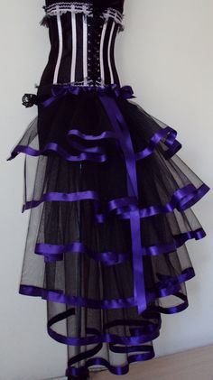 Black Purple Burlesque Steampunk Bustle Belt by thetutustoreuk