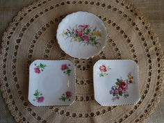 ADDERLEY FLORAL Bone China Plates Set of 3 Small Fine China Plates Made in England Tea Plates Dessert Plates Jewelry Dish by RandomAmazing on Etsy