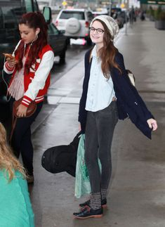 Ciara Bravo Actors Christopher O'Neal, Noah Crawford, Noah Munck, Ariana Grande, Jennette McCurdy and Ciara Bravo from the show 'Swindle' catching a flight back to Los Angeles in Vancouver, Canada on November 3, 2012.