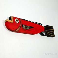 Wood Fish Red Painted Folk Art by TaylorArts on Etsy, $110.00