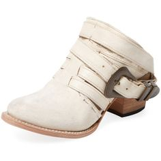 Freebird Women's Lucky Leather Open Back Bootie - Cream/Tan - Size 9 (160 CAD) ❤ liked on Polyvore featuring shoes, boots, ankle booties, platform booties, leather wedge bootie, leather wedge booties, buckle ankle boots and wedge booties
