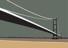 www.Ianmitchellart.com - the Humber Bridge British Schools, In Pursuit, Yorkshire, Printmaking, Graham, Signage, Bridge, Coast, Illustrations
