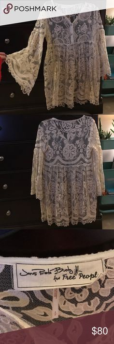 Free People Sheer Dress Lacey cream colored sheer dress. Like new condition. Only worn once! Could be worn over a shirt with leggings or a cute swimsuit cover up! Free People Dresses Mini