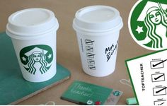 Printable to turn a Starbucks coffee cup into a sweet gift card holder for teachers | via @alpha
