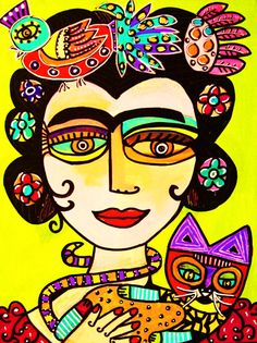 Talavera Cat And Frida' SILBERZWEIG by SandraSilberzweigArt, $18.99