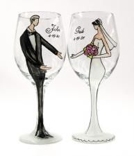 Personalized Bride or Groom Wedding Wine Glass by Gail Corso  Make their special day that much more romantic with these personalized, handpainted wine glasses by Gail Corso, creator of the Derby Divas glasses.  Sold individually or as a set of two, each glass may be customized with the bride or groom's name and the date of your choice.  When ordering please place your customization details in the Special Instructions field during checkout or call (800) 444-0552 for more details. -
