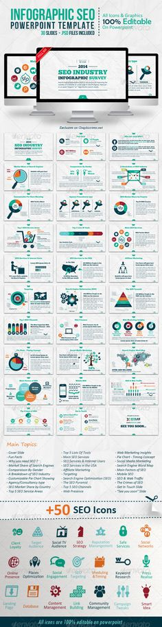 Buy Infographic SEO Keynote Template by on GraphicRiver. An Infographic SEO Keynote Presentation Template with 30 unique slides created with full vector design elements, for . Keynote Presentation, Business Presentation, Powerpoint Presentation Templates, Presentation Design, Keynote Template, Powerpoint Presentations, Keynote Design, Web Design, Vector Design