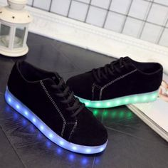 5e8255ffdc9f15 Lights Up Suede Led Luminous Athletic Shoes