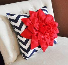 Red Dahlia on Navy Blue and White Zigzag Pillow -Chevron Pillow- Patriotic Decor- Red White and Blue via Etsy