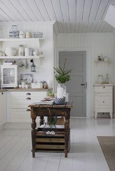 White and dove grey, gorgeous kitchen block