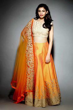 JIYA Orange Silk embroidered Lehenga