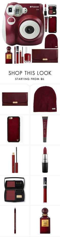 """Maroon Polaroid"" by panda-matowi0715 ❤ liked on Polyvore featuring Polaroid, Burberry, Neff, Wildflower, Essie, Lane Bryant, Kevyn Aucoin, MAC Cosmetics, Lancôme and NARS Cosmetics"