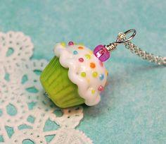 Lime Green Lampwork Sprinkle Cupcake Pendant by aStudiobytheSea, #hudsonvalley #hvnyteam