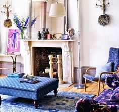 Blue Patterns, Vintage & Antiques, White Walls, Eclectic Look