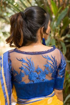 Buy Designer Blouses online, Custom Design Blouses, Ready Made Blouses, Saree Blouse patterns at our online shop House of Blouse from India. Netted Blouse Designs, Saree Blouse Neck Designs, Fancy Blouse Designs, Saree Blouse Patterns, Indian Blouse Designs, Blouse Designs Catalogue, Mode Wax, Saree Jackets, House Of Blouse