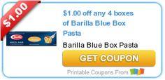 Nuevo Cupón $1.00/4 Barilla Blue Box Pasta!