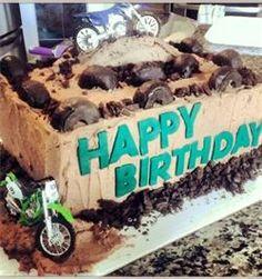 Dirt Bike Birthday Cake!  http://www.flourpowerbee.com