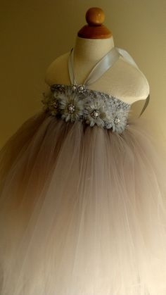 Flower girl dress, silver, gray tutu dress, daisies, baby tutu dress, toddler tutu dress, newborn-24m,3t,4t,5t, birthday,wedding. $68.00, via Etsy.