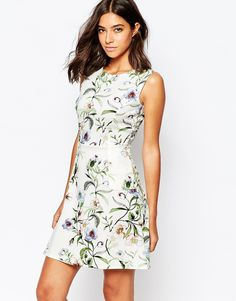 Warehouse+Blossom+Floral+Print+Scuba+Dress
