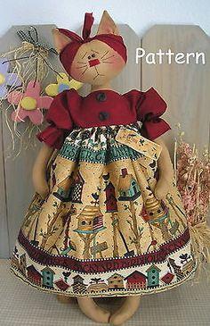 Pattern Primitive Raggedy Folk Art Kitty Cat Doll Sewing Fabric Cloth Craft 12 | eBay