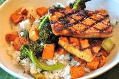 Jerk Tofu, Caribbean Vegetables with Coconut Rice - Vegan