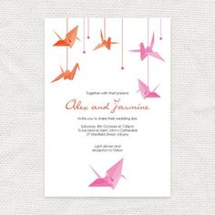 Items similar to origami crane wedding save the date, paper crane wedding - crane save the date, origami save the date PRINTABLE origami wedding invitations on Etsy Origami Wedding Invitations, Printable Wedding Invitations, Wedding Stationery, Paper Crane Wedding, Origami Paper Crane, Origami Cranes, Diy Origami, Origami Birds, Paper Cranes