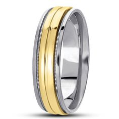 TWO-TONE BASIC CARVED WEDDING BAND