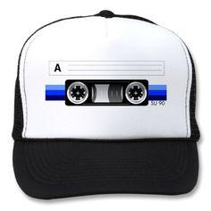 Cassette tape blue label hat