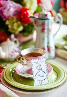 Wedding Tea: Personalized place cards for engagement party.