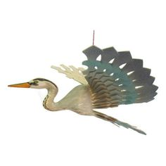 Great Blue Heron Bird Mobile Fan Carving, Hand Carved Woodwork, Hanging Ornament Artwork, Lake House Décor, Ceiling Bird, Folk Hobby Craft ($48) found on Polyvore featuring home, home decor, blue home accessories, mobile home decor, bird home decor and blue home decor