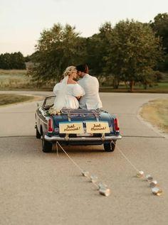 Bride and Groom Take Off in a Vintage Getaway Car Intimate Wedding Reception, Wedding Venues, Wedding Transportation, Wedding Story, Wedding Pictures, Real Weddings, Vintage Inspired, Groom, Backyard