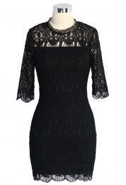 Baroque Full Lace Shift Dress in Black