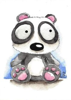 ACEO-Original-watercolor-painting-Lucia-Stewart-whimsical-animal-baby-panda