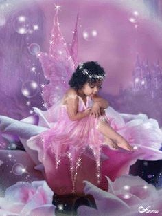 MOVING Twinkling Pink Angel Photo = Angel or fairy animated gif 2/28/16