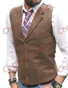 Mens Wool Blend Tweed Brown Beige Herringbone Waistcoat Vest Gilet M L Xl Xxl Suit Vest, Vest Jacket, Suit Jackets, Tweed Vest, Men's Waistcoat, Herringbone Vest, Brown Vest, Blue Suede Shoes, Cool Shirts