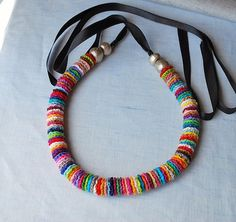 Colorido Long Crochet collier multicolore no 3