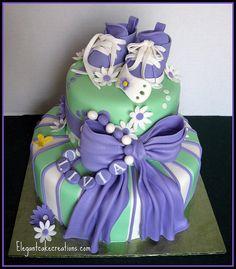 Purple Baby Shower Cake by Elegant Cake