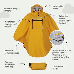 Poncho Raincoat, Under The Rain, Camping, Yellow, Red, Sleeves, Jackets, Bags, Etsy