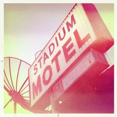 Stadium Motel Lubbock Texas Tech University Sign Satellite Dish