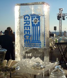 Crystal clear ice column with logo for a special event. Looking for self employed business ideas? Start fresh by producing ice sculptures. Visit our website for more details about our business opportunity.